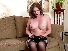 Ginger-haired Cougar Masturbates Fuck Stick Plaything In Antique Undergarments Nylons