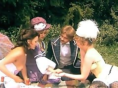 Sexually Excited German Gals Wearing Antique Costumes Unwrap At The Picnic