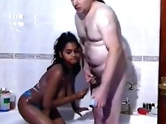 Indian Rashneen With Old Fat Milky Man