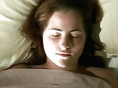 Fatty Sandy-haired 90s Doll Fondles Herself Under The Sheet And Excitingly Masturbates
