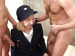 Matures Lady In Retro Uniform Delectations Old-school Gonzo Threesome Fuck